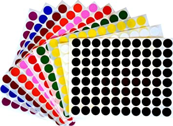 Royal Green Color Coding Labels 1/2 Round Dot Stickers, Black/White/
