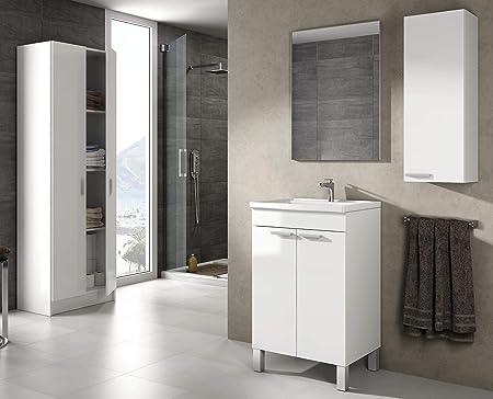 Miroytengo Pack Muebles baño con lavamanos cerámico Espejo Armario ...