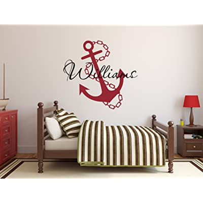 Custom Anchor Name Wall Decal - Anchor Room Decor - Nursery Wall Decals - Anchor Chain Vinyl Sticker: Baby