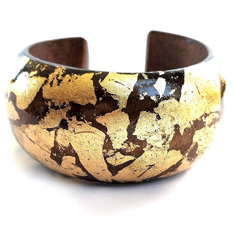 stud muffin ~ wooden gold embellished bangle