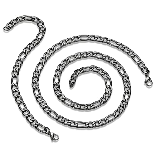468b46fabeebf7 Crucible Black Plated 8MM Stainless Steel Polished Figaro Chain Necklace  (24 in) and Bracelet