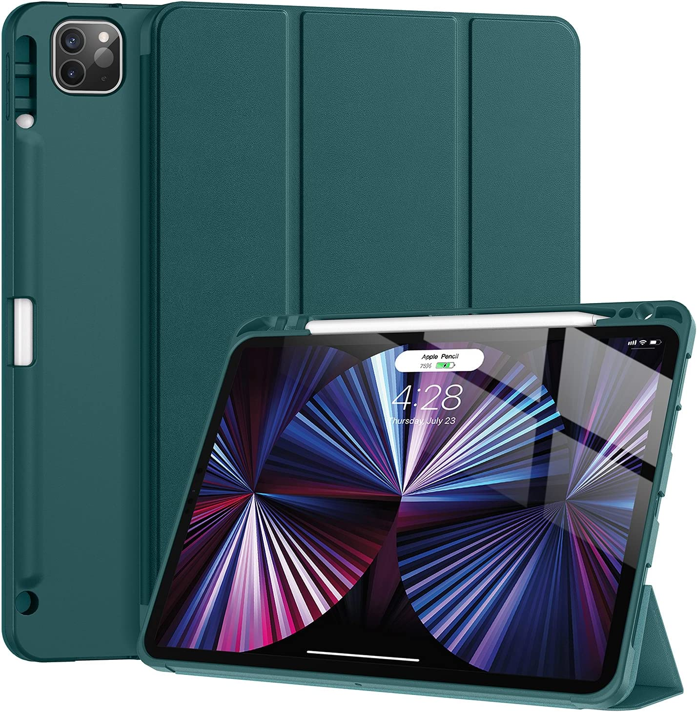 Tuosake iPad Pro 11 inch Case 2021 with Pencil Holder, Slim Lightweight Trifold Stand Case with Soft TPU Back Cover【Auto Sleep /Wake+Pencil Charging】 Smart Case for iPad Pro 11 3rd Gen(Dark Teal)