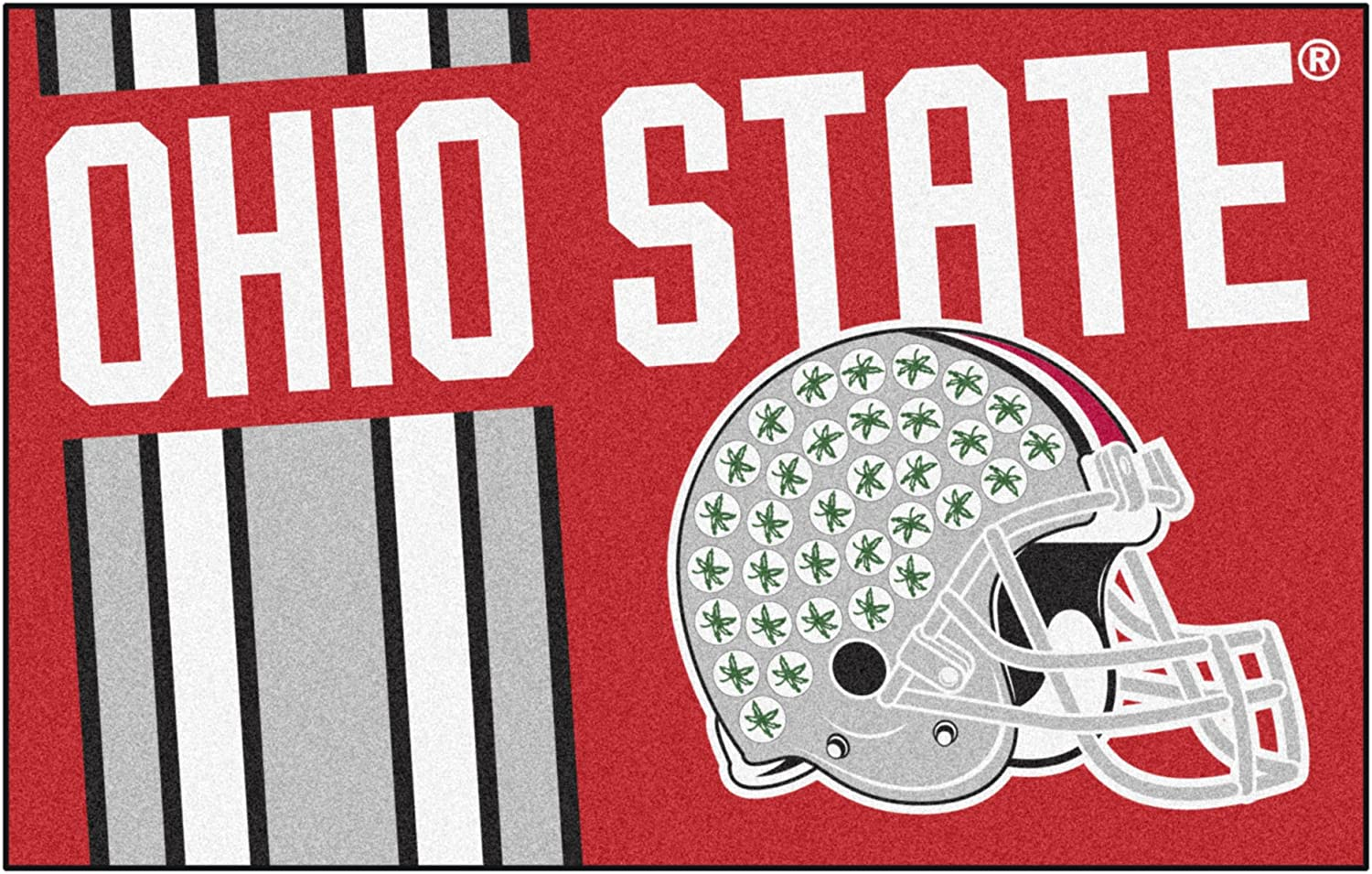 """FANMATS 18768 Ohio State Uniform Inspired Starter Rug, Team Color, 19"""" x 30"""""""