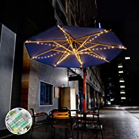 Outdoor Patio Umbrella String Lights 8 Lighting Mode 104 LED Lights with Remote Control Umbrella Light 2400mAh Battery Operated,for Beach Deck Umbrella Garden Party Outdoor Decoration