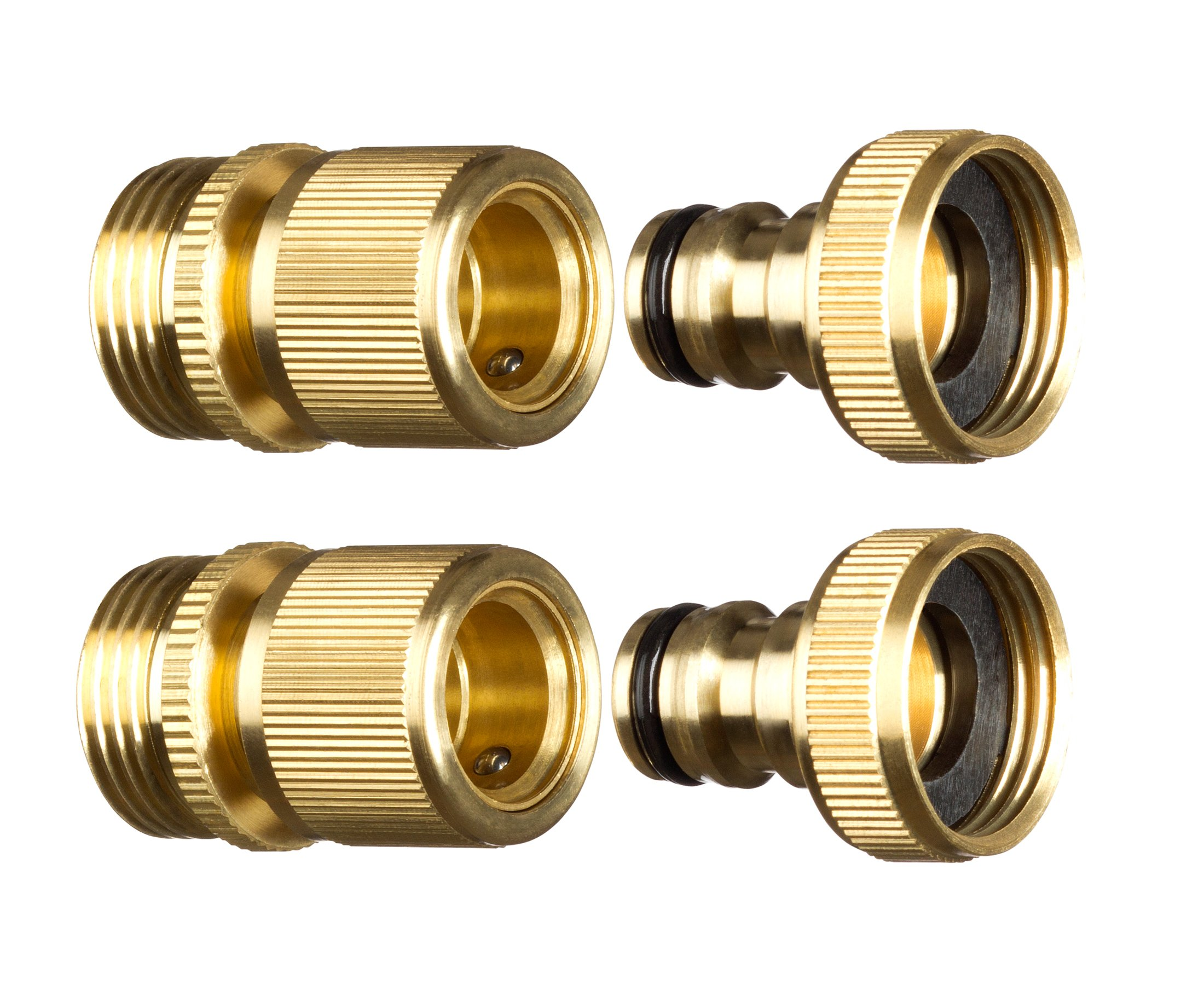 New Garden Hose Quick Connector. ¾ inch GHT Brass Easy Connect Fitting 4-Piece Set Male and Female