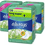 Always Ultra Thin Feminine Pads with Wings for Women, Super Absorbency, Unscented, Size 2 (126 Count)