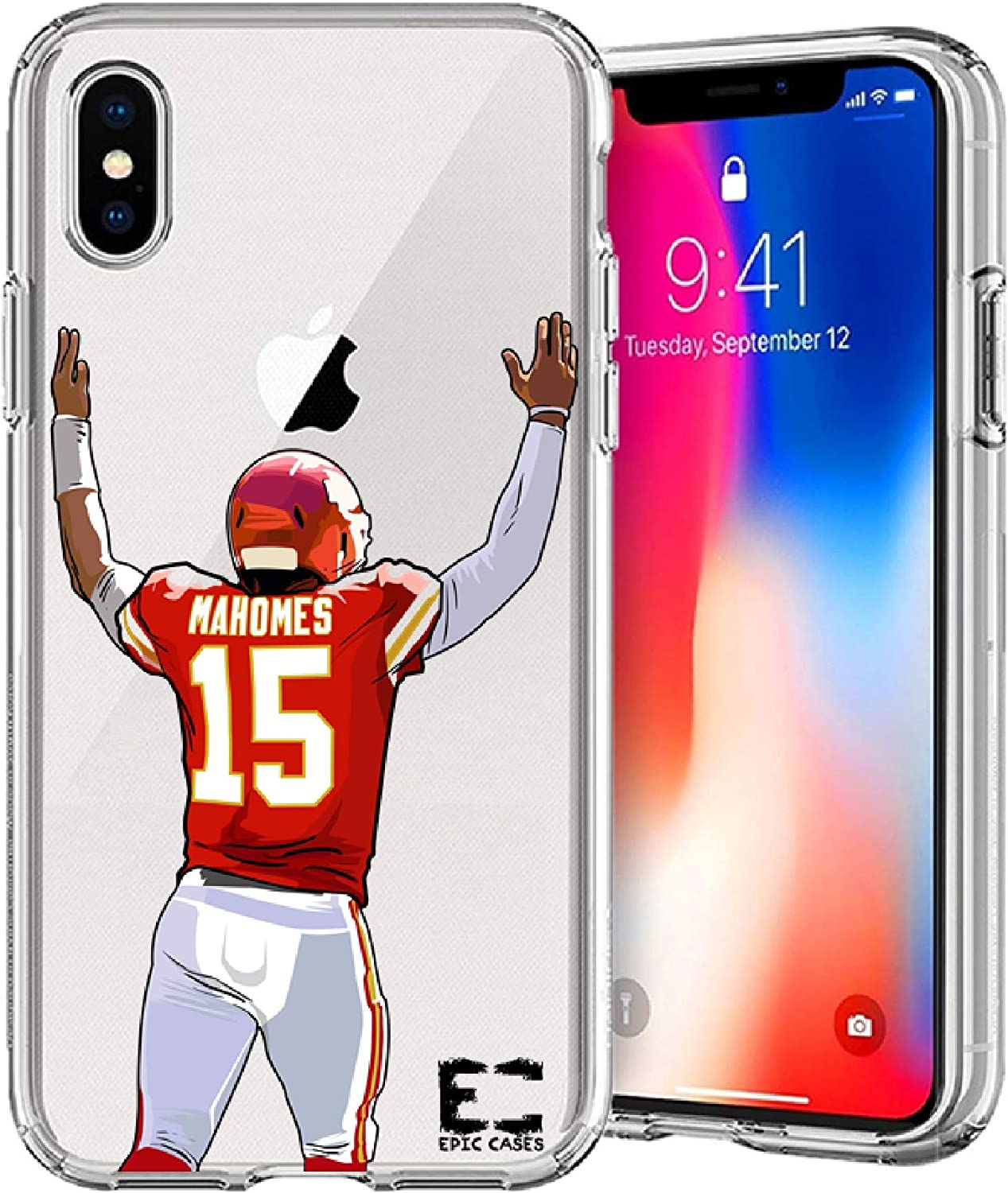 iPhone6/6S iPhone 7/iPhone 8 Case Epic Cases Ultra Slim Crystal Clear Football Series Soft Transparent TPU Case Cover Apple (iPhone 6/6s) (iPhone 7) (iPhone 8) (Mahomes Chiefs, iPhone 6/7/8)