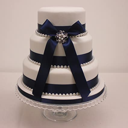 Wedding Cake Bridal Pearl Brooch Pearls And Navy Blue Ribbon