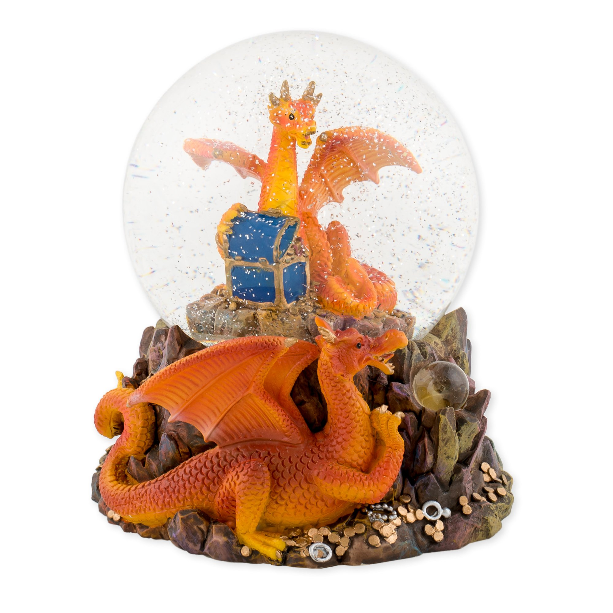 Orange Dragon with Treasure Chest 100mm Resin Glitter Water Globe Plays Tune Now is the Hour