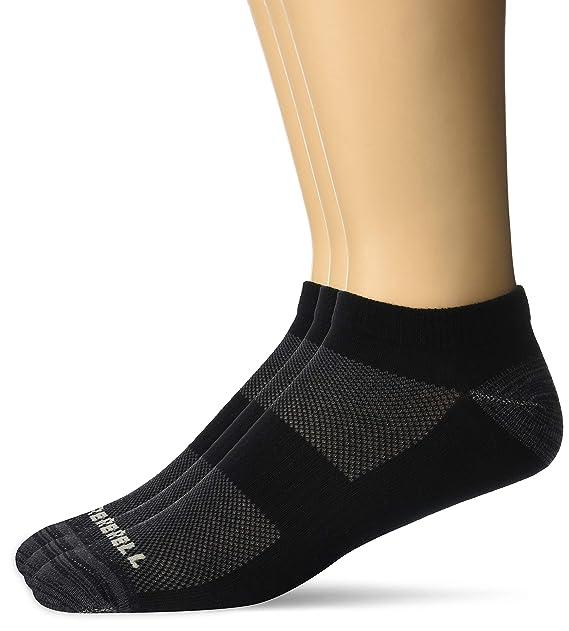 3fa6b57ff6 Merrell Men's 3 Pack Cushioned Trainer Low Cut Socks, Black, Shoe ...