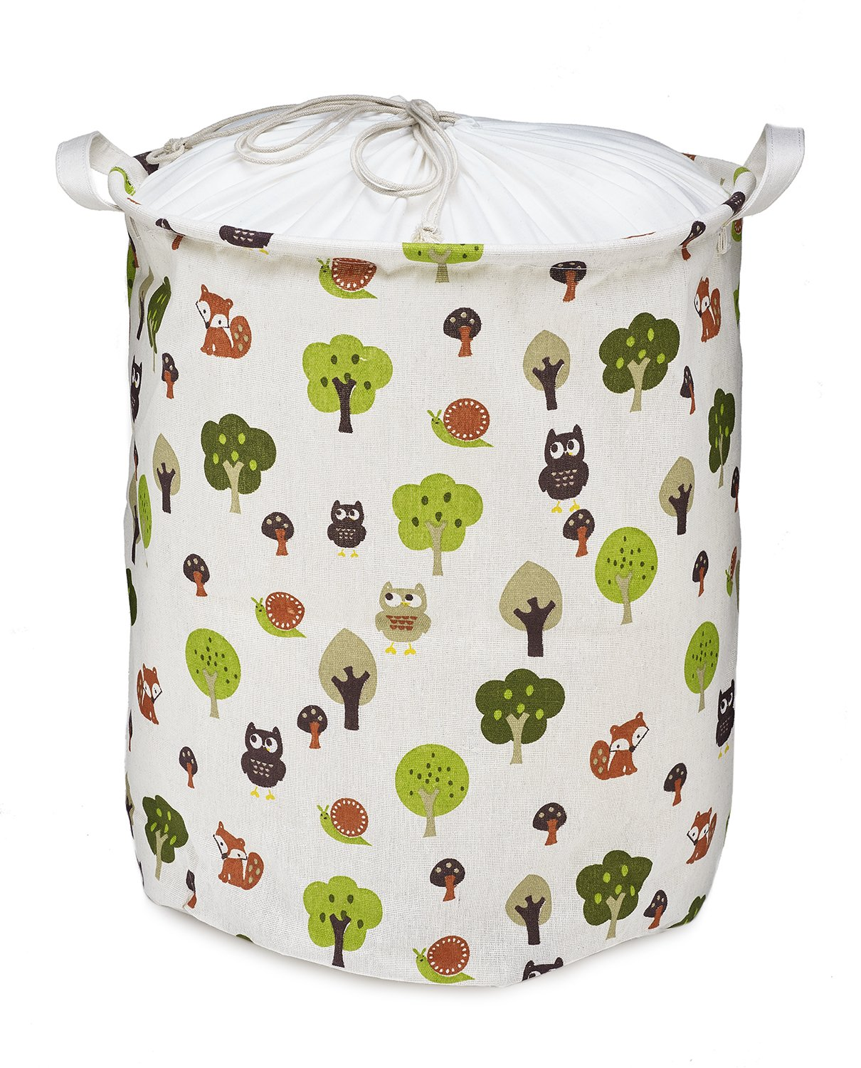 Org Store Cotton Fabric Collapsible Laundry Basket Dirty Clothes Hamper - Perfect for College Dorms, Kids Room & Bathroom (Forest Patterned) ORG012