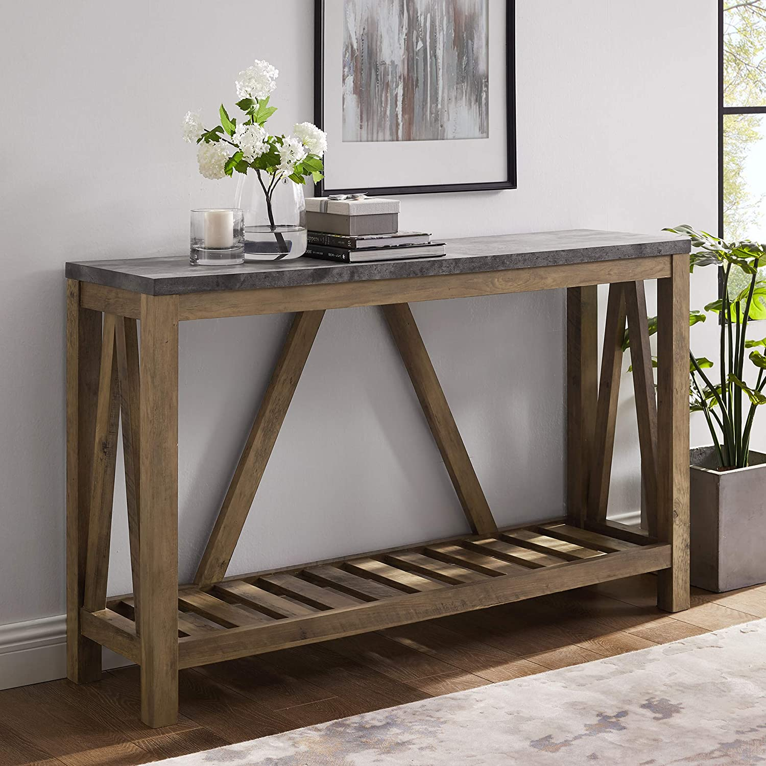 Walker Edison Furniture Modern Farmhouse Accent Entryway Table, 52 Inch, Grey Concrete