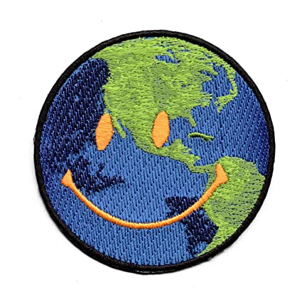 21f3a5fd6ff9 Image Unavailable. Image not available for. Color: Astroworld Happy Face  World Emoji Embroidered Iron On Patch
