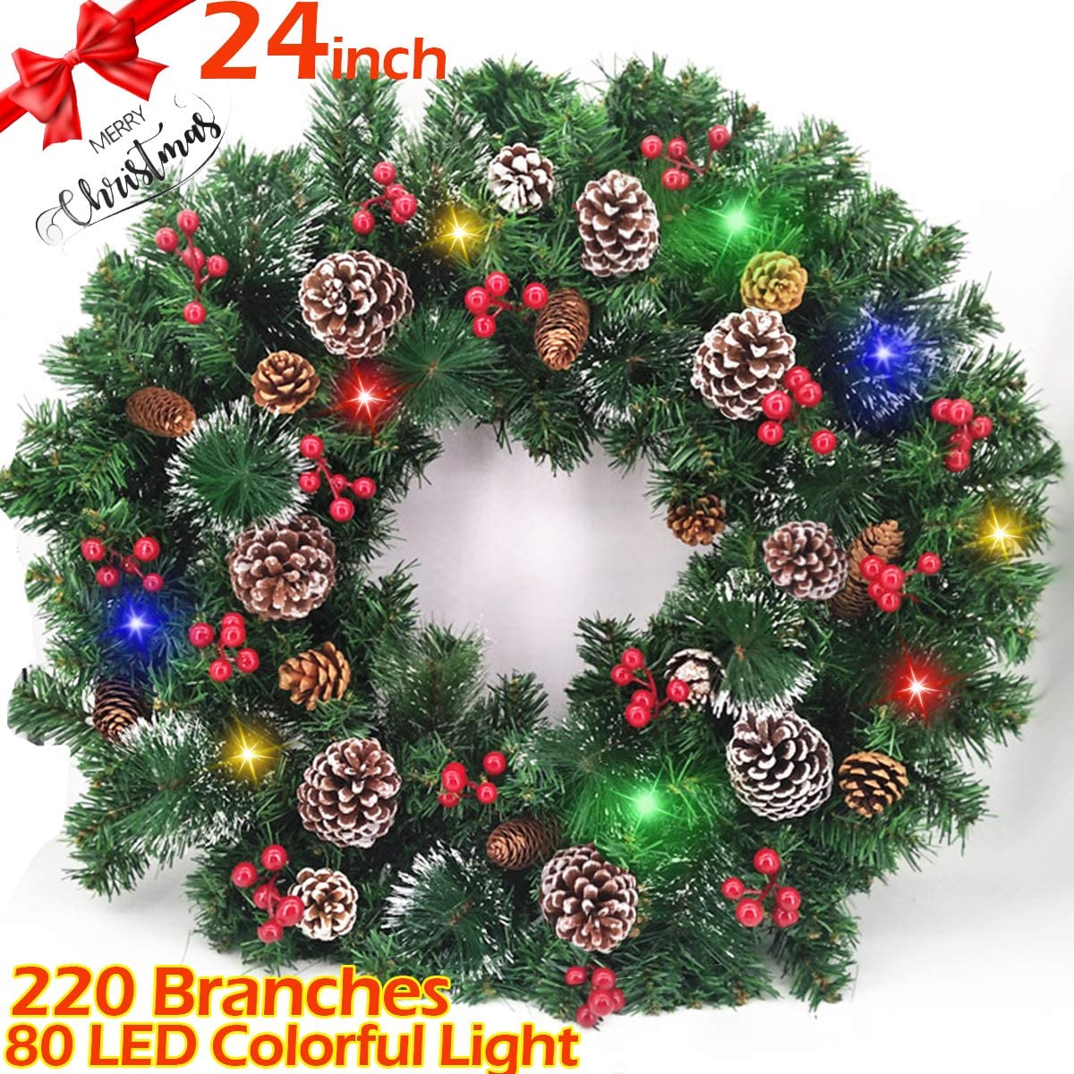 Battery Operated TURNMEON 30 Inch Christmas Wreath Garland with 80 Colorful LED Lights Pre-Lit Wreath Artificial Snowflakes Pine Cone Red Berry Christmas Decoration for Front Door