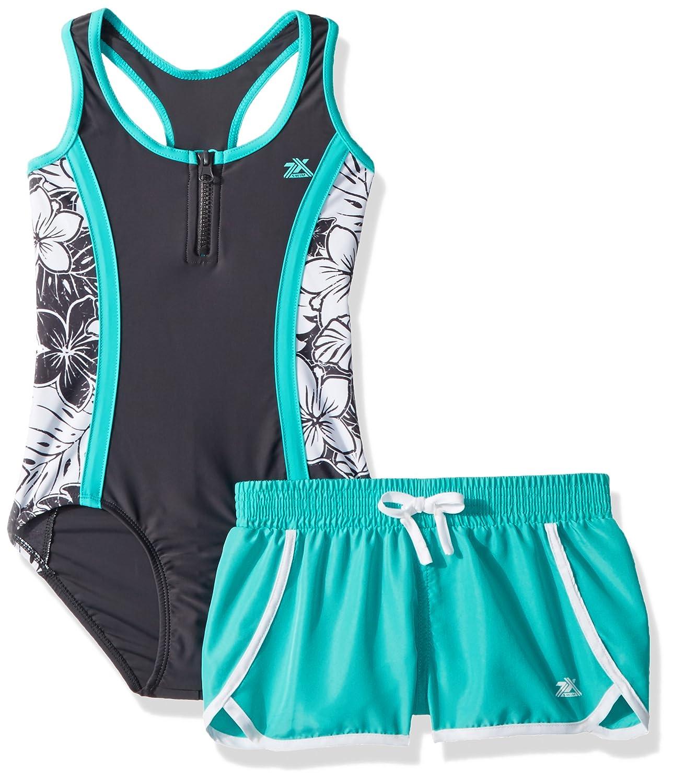 ZeroXposur Girls' One Piece Swimsuit with Board Short 38001ASST