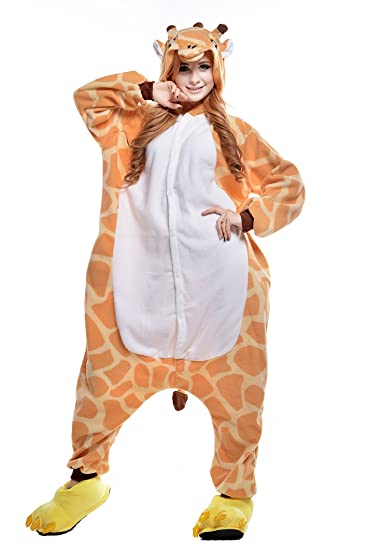 CANASOUR Halloween Women s Orange Giraffe Adult Unisex Onesie Pyjama (Small) cf25af459