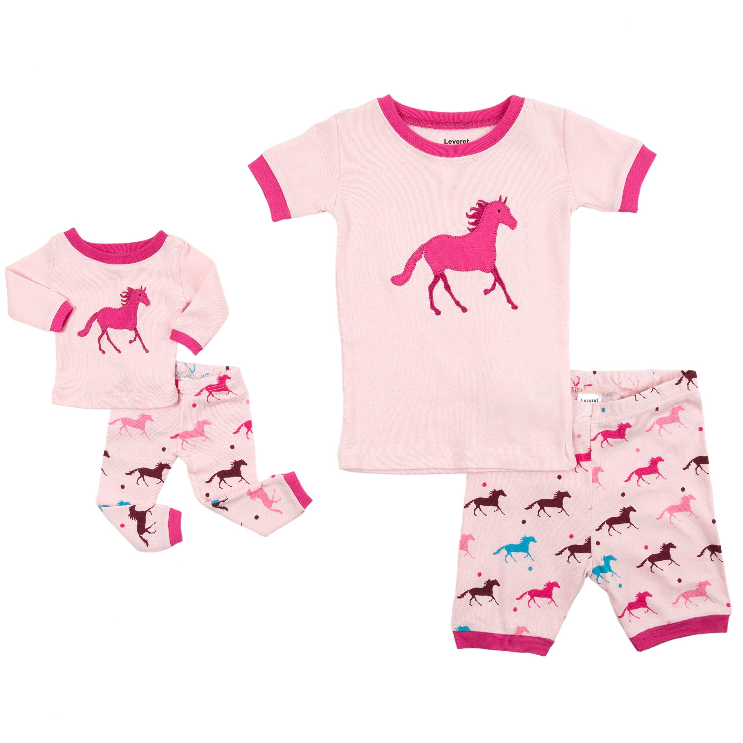 Leveret Shorts Matching Doll & Girl Horse 2 Piece Pajama Set 100% Cotton Size 8 Years