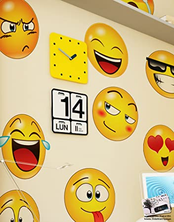 Large Emoji Wall Decal Faces Sticker S In X In Each - Emoji wall decals