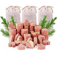 Yizhet Drewno cedrowe ochrona przed molami, 50 szt., serca z drewna cedrowego, 3 szt. woreczków zapachowych z drewna…