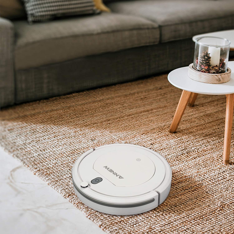 ANNEW Robot Aspirador con Control Remoto 3 Modos de Limpieza Anti-caídas Filtro HEPA Adecuado para el Pelo de Mascotas Alfombras Pisos Duros: Amazon.es: ...
