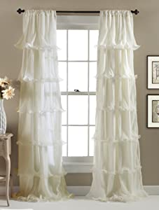 "Lush Decor Nerina Curtain Sheer Ruffled Textured Window Panel for Living, Dining Room, Bedroom (Single) 84"" x 54"" Ivory"