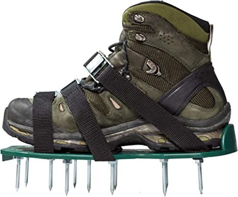 6 Adjustable Straps Heavy Duty Spiked Sandals Shoes with Metal Buckles One Size Fits All Spikes Shoes for Aerating Lawn Soil Yard Grass A7D8F9 Lawn Aerator Shoes