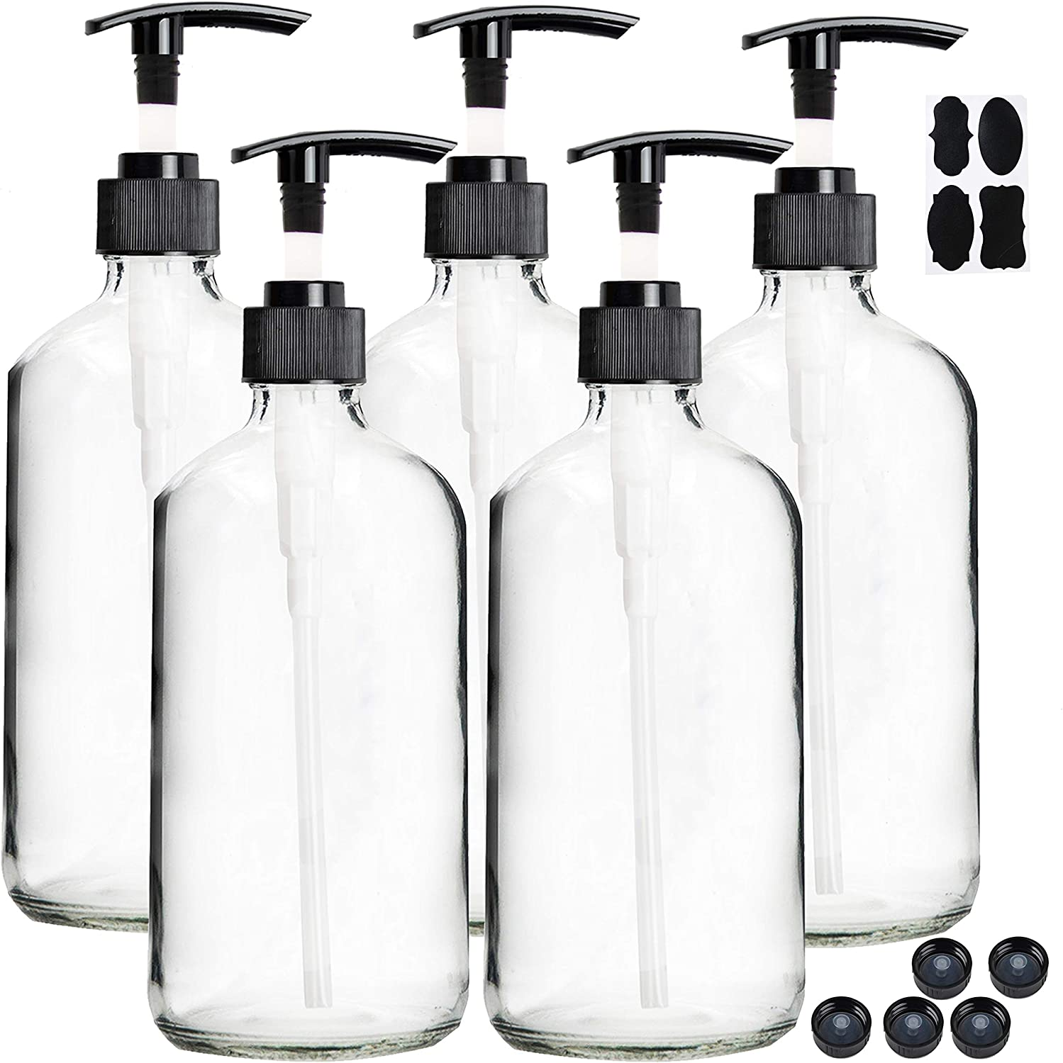 Youngever 5 Pack Empty Clear Glass Pump Bottles, 8 Ounce Lotion Pump Bottles, Soap Dispenser, Refillable Containers, Durable Black Pumps