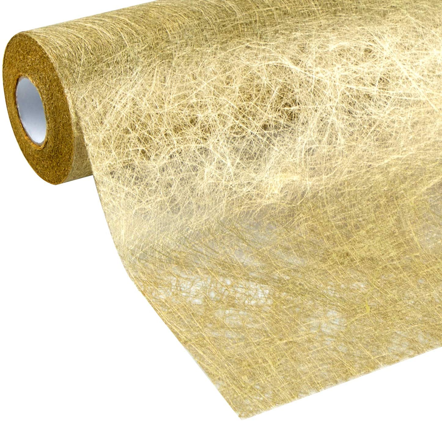 WELTRXE Table Runner Gold, Decorative Glitter Metallic Table Runner Roll 12 Inch x 16 Ft Non-Woven Fabric Dining Table Decor for Wedding, Valentines Day, Parties, Birthday, Baby Shower, Christmas