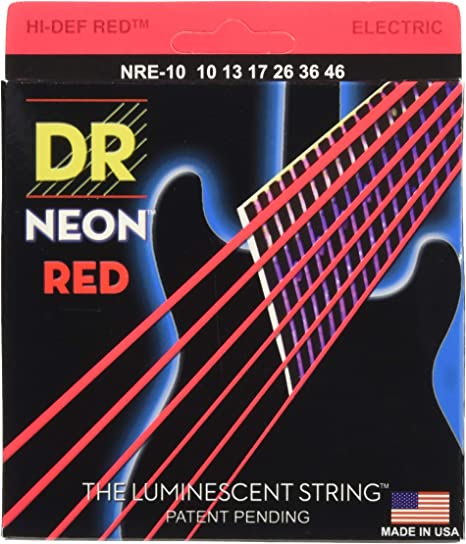 DR String NRE-10 - Juego Cuerdas Guitarra Eléctrica, Rojo Neón ...