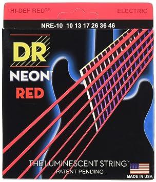 Cuerda / juego de cuerdas para guitarra electrica Dr NRE-10 Neon Red ...