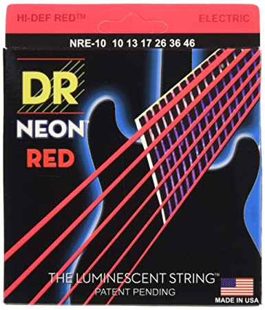 Amazon Com Dr Strings Hi Def Neon Red Coated Medium 10 46