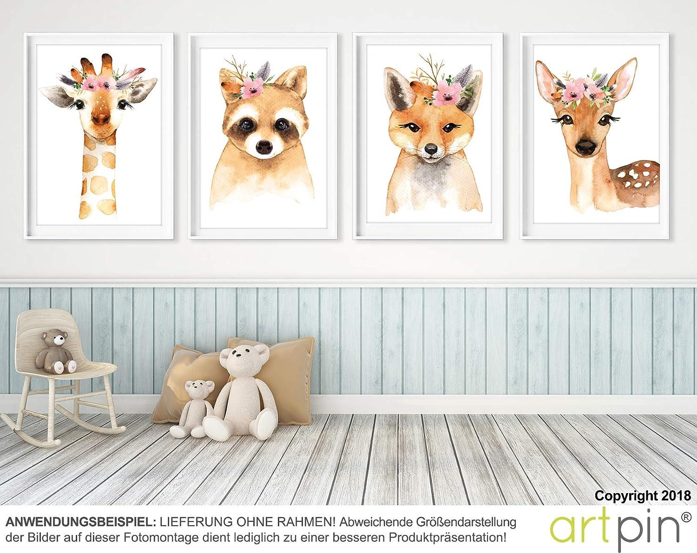 Artin/® Set Art pour Enfants Artificiels D/écoration de Chambre Enfant Chambre Enfant Style Scandinave A4 Images de Fille Junge D/écoration Murale Cadeau