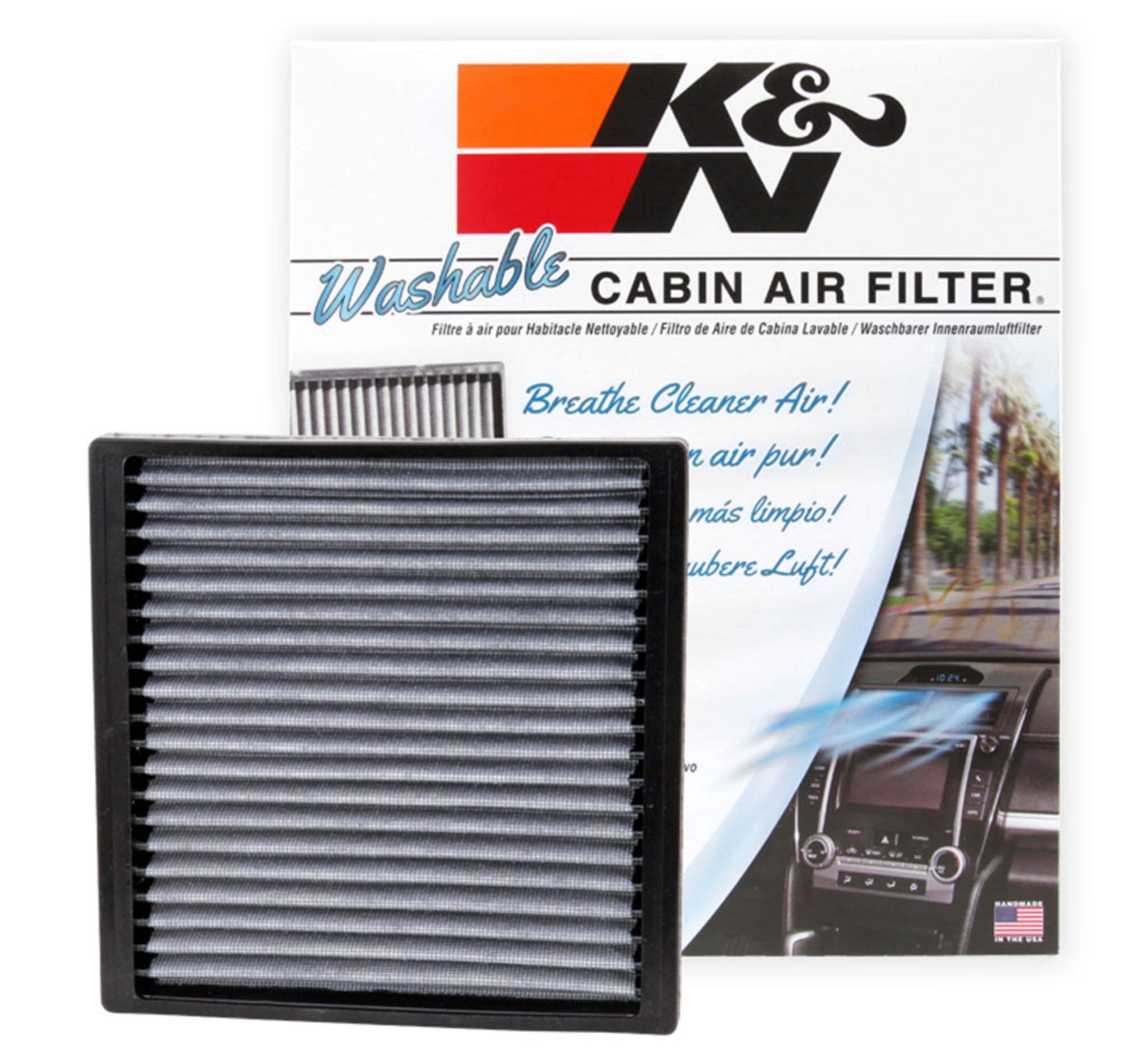 K&N VF2005 Washable & Reusable Cabin Air Filter Cleans and Freshens Incoming Air for your Toyota, Pontiac, Subaru by K&N