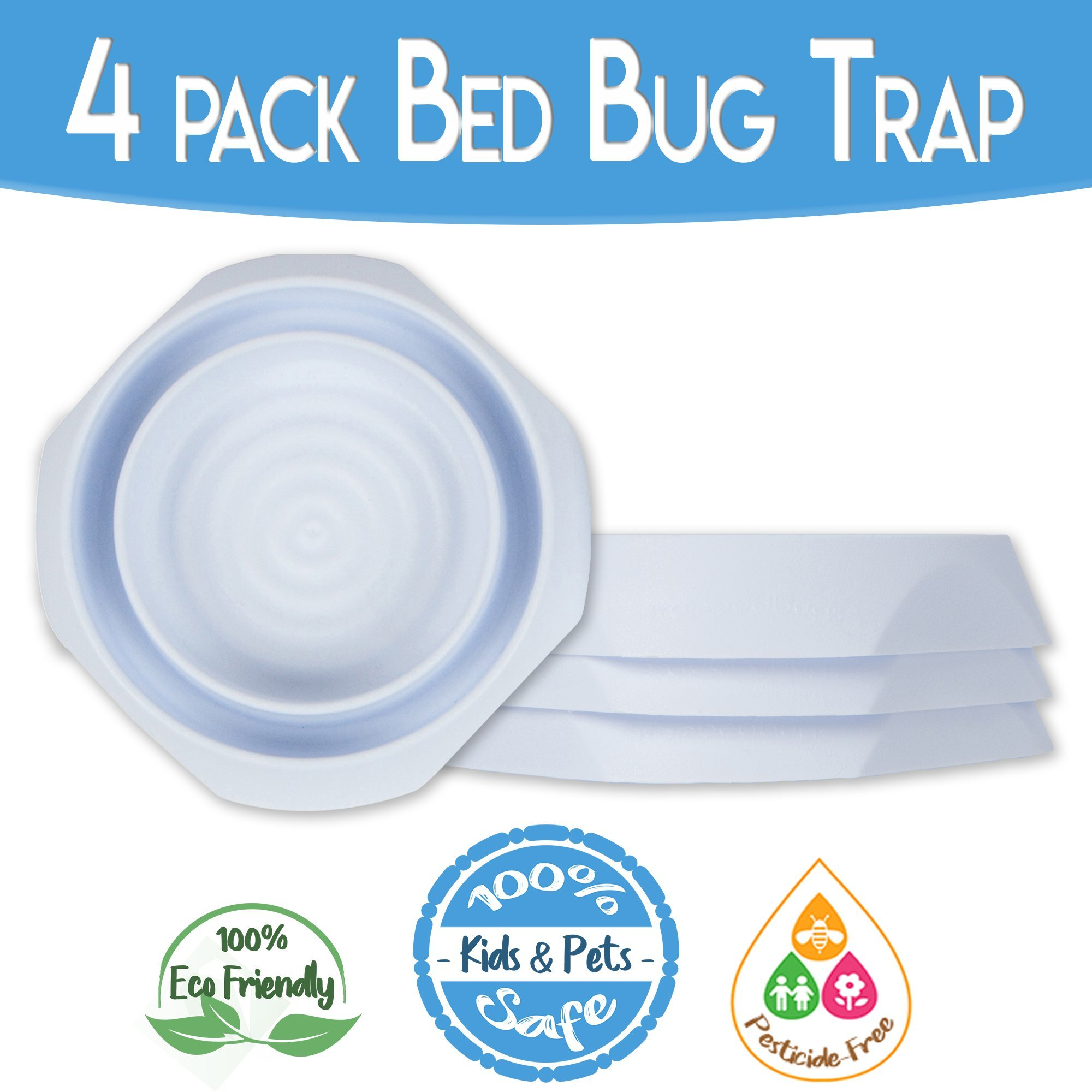 Bed Bug Interceptors 4 Pack Bed Bug Trap. Revolutionary Design are The Most Reliable Bed Bug Traps on The Market
