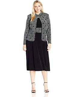 7597e7f1f7b Jessica Howard Women s Plus Size 3 4 Sleeve Mandarin Collar Jacket with  Sleeveless Ruched Waist
