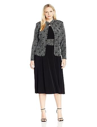Jessica Howard Womens Plus Size 34 Sleeve Mandarin Collar Jacket