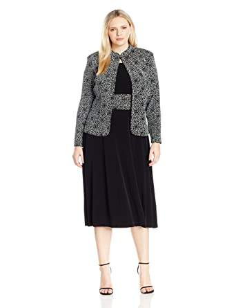 347d54c2fd1e Jessica Howard Women's Plus Size 3/4 Sleeve Mandarin Collar Jacket with  Sleeveless Ruched Waist Dress at Amazon Women's Clothing store: