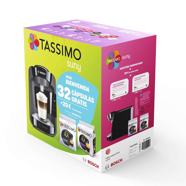 Bosch TAS3205 Tassimo Suny (azul pacífico) + Pack café 5 paquetes Tassimo Decaffeinato