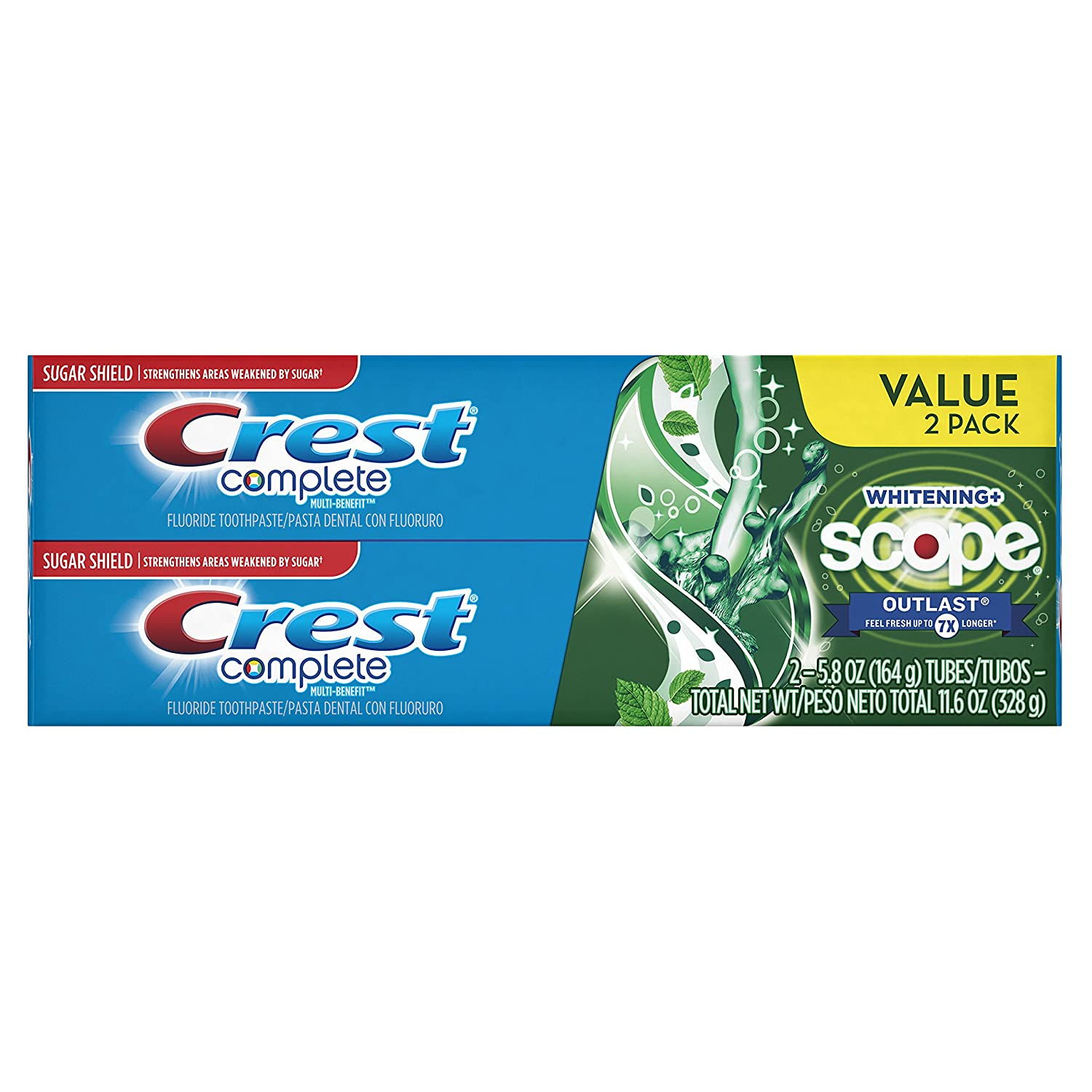 Crest Complete Multi Benefit Scope Outlast Fresh Breath Whitening Toothpaste Mint 5.8 Ounce (Pack of 2)