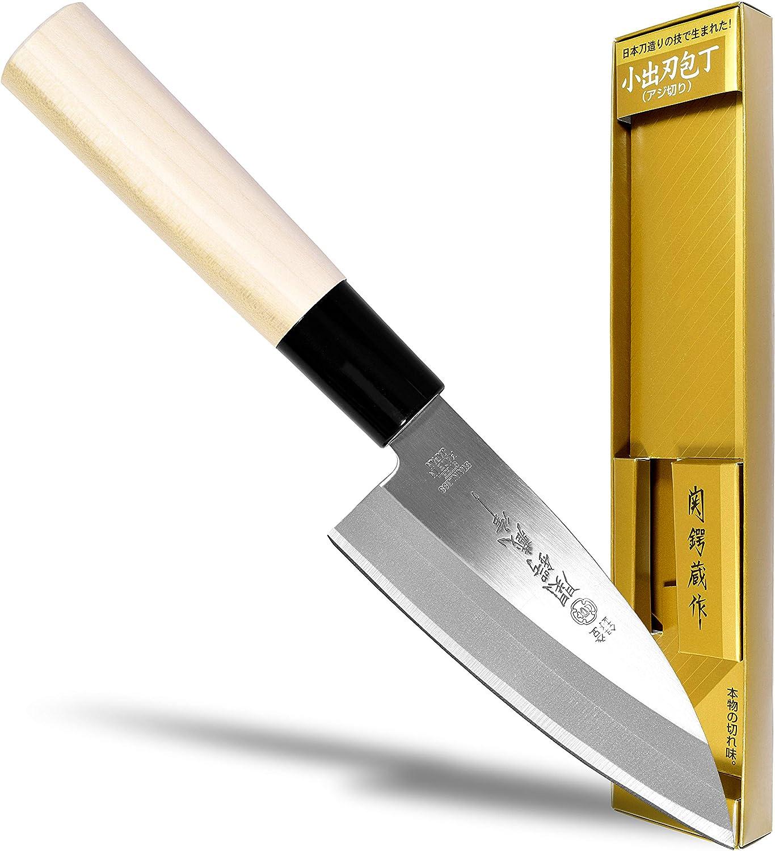 Seki Japan TSUBAZO Japanese Sushi Chef Knife Shiraki Handle Stainless Steel Sashimi Small Deba Knife 4.1 in 105 mm