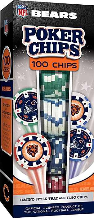 MasterPieces NFL Chicago Bears Poker Chips, 100 Piece
