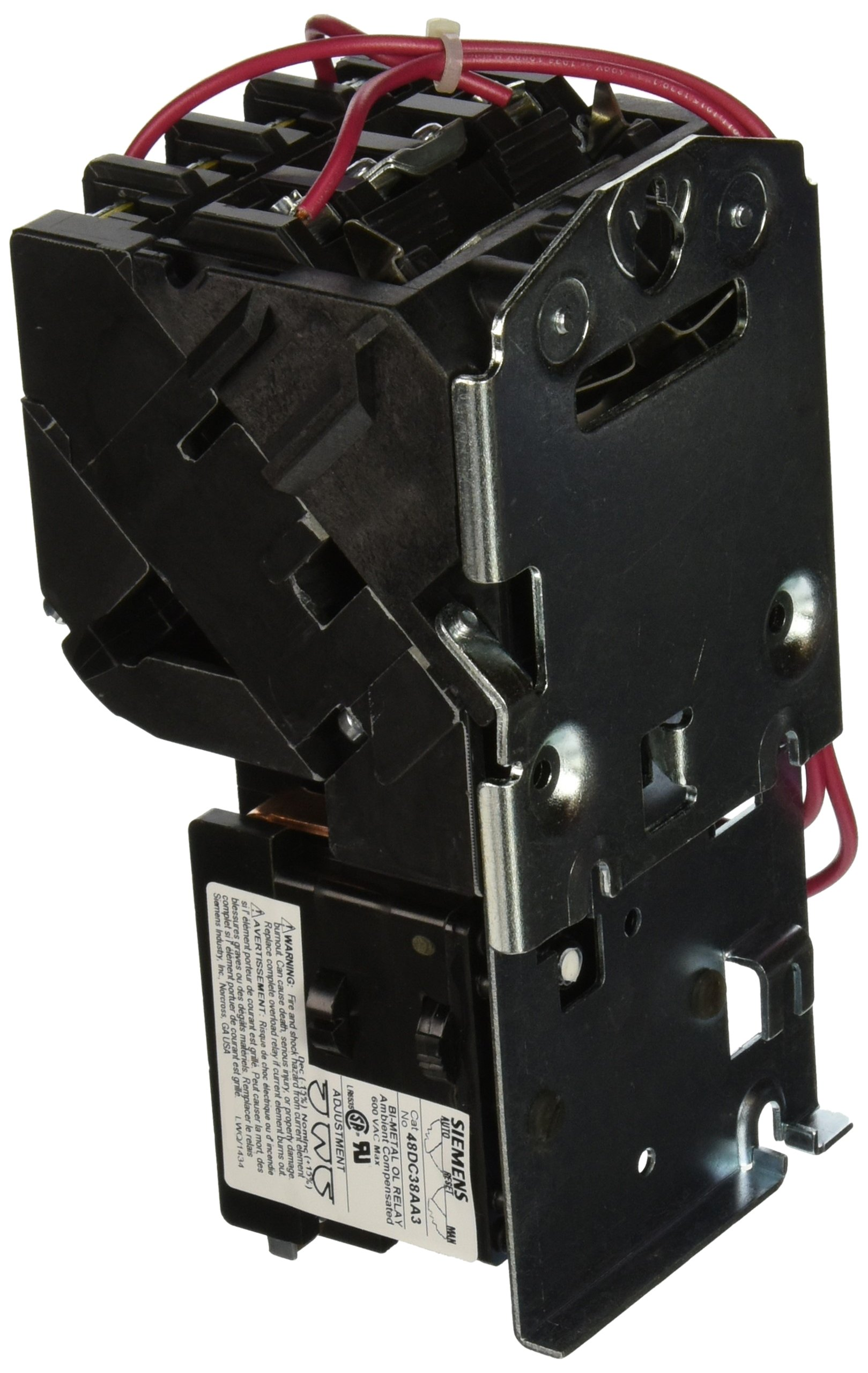 Siemens 14CP32AA81 Heavy Duty Motor Starter, Ambient Compensated Bimetal Overload, Manual/Auto Reset, Open Type, 3 Phase, 3 Pole, Standard Auxiliary Contacts, 0 NEMA Size, 18A Contactor Amp Rating, 110-120/220-240 at 60Hz Coil Voltage