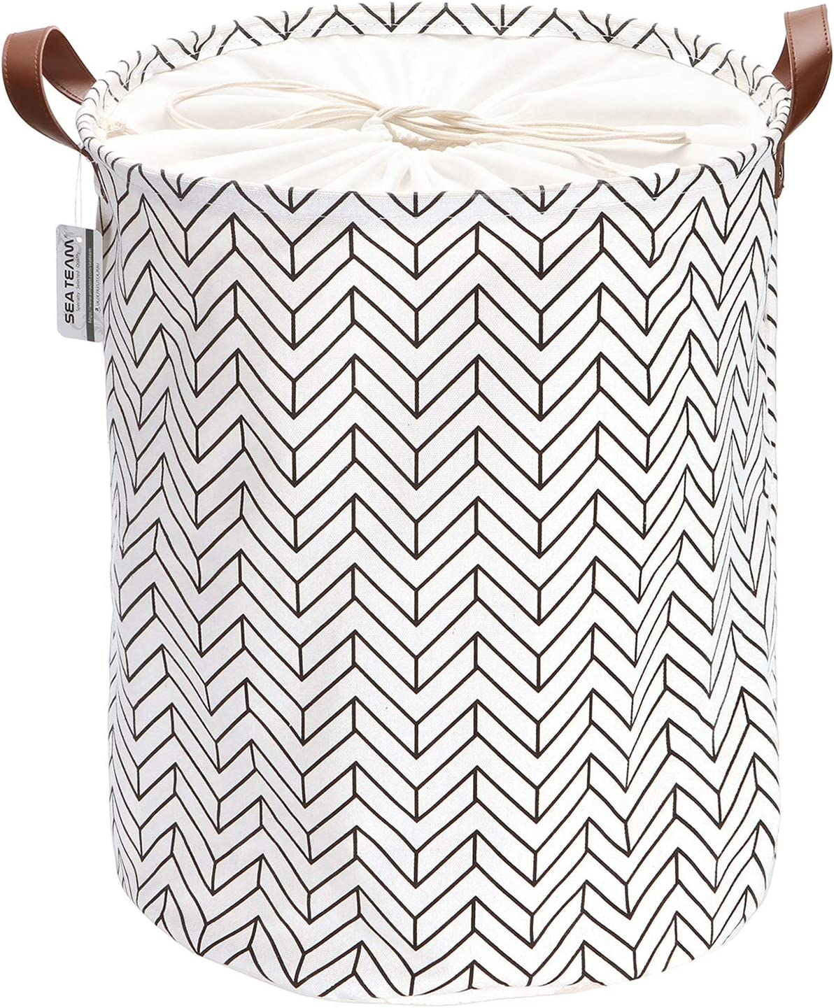 Sea Team Arrowhead Pattern Laundry Hamper Canvas Fabric Laundry Basket Collapsible Storage Bin with PU Leather Handles and Drawstring Closure, 19.7 by 15.7 inches, Waterproof Inner, Black