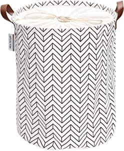 Sea Team Arrowhead Pattern Laundry Hamper Canvas Fabric Laundry Basket Collapsible Storage Bin with PU Leather Handles and Drawstring Closure, 17.7 by 13.8 inches, Waterproof Inner, Black