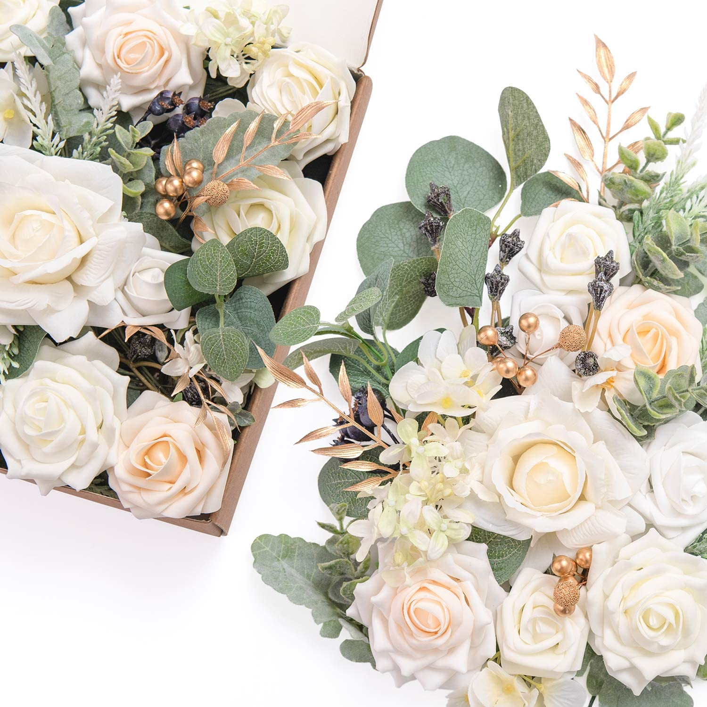 Ling's moment Artificial Flowers Box Set for DIY Wedding Bouquets Centerpieces Arrangements Party Baby Shower Home Decorations