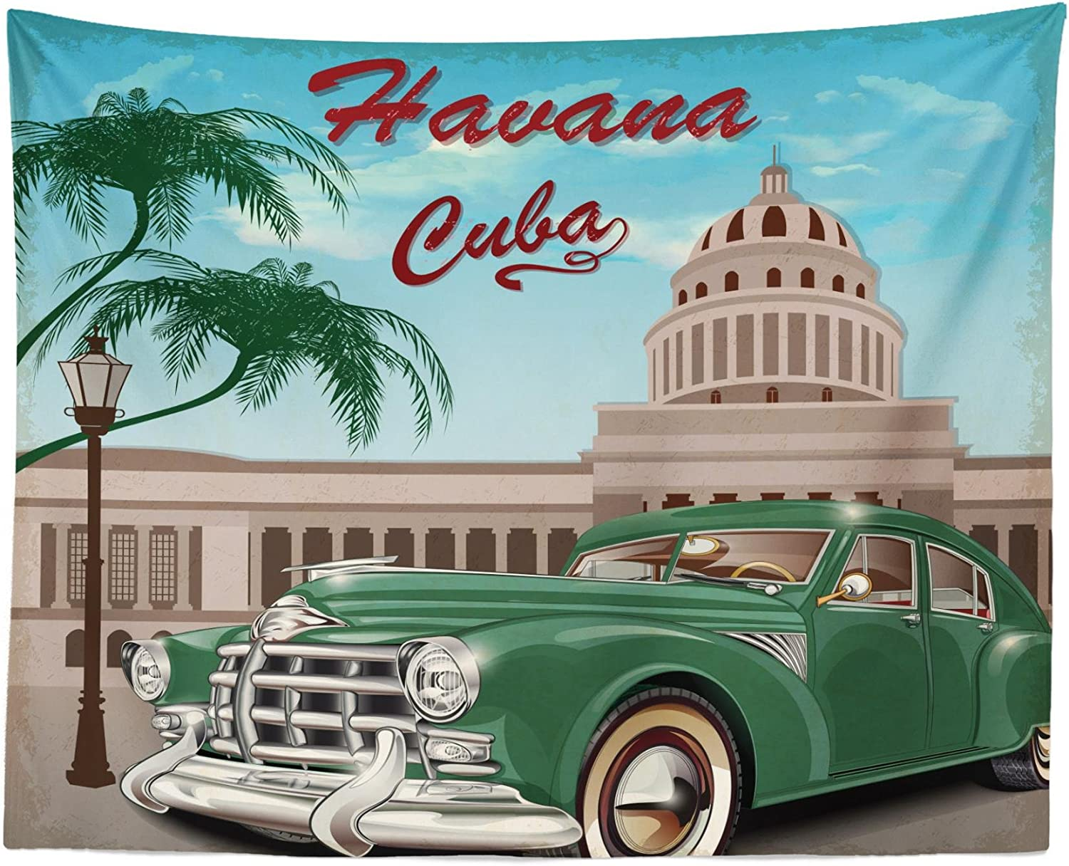 "Lunarable Havana Tapestry, Retro Design of El Capitolio with Nostalgic Car Under Palm Tree, Fabric Wall Hanging Decor for Bedroom Living Room Dorm, 28"" X 23"", Jade Green"