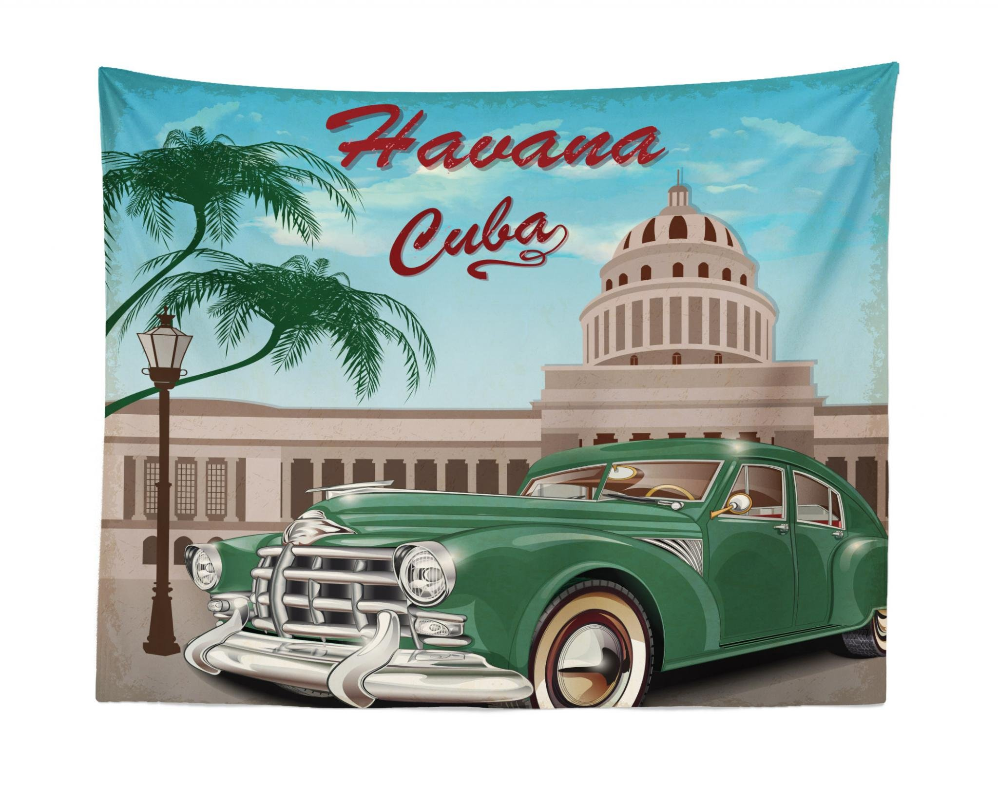 Jade Green Pale Blue and Beige Lunarable Havana Tapestry 45 W X 30 L inches Retro Design of El Capitolio with Nostalgic Car Under Palm Tree Fabric Wall Hanging Decor for Bedroom Living Room Dorm