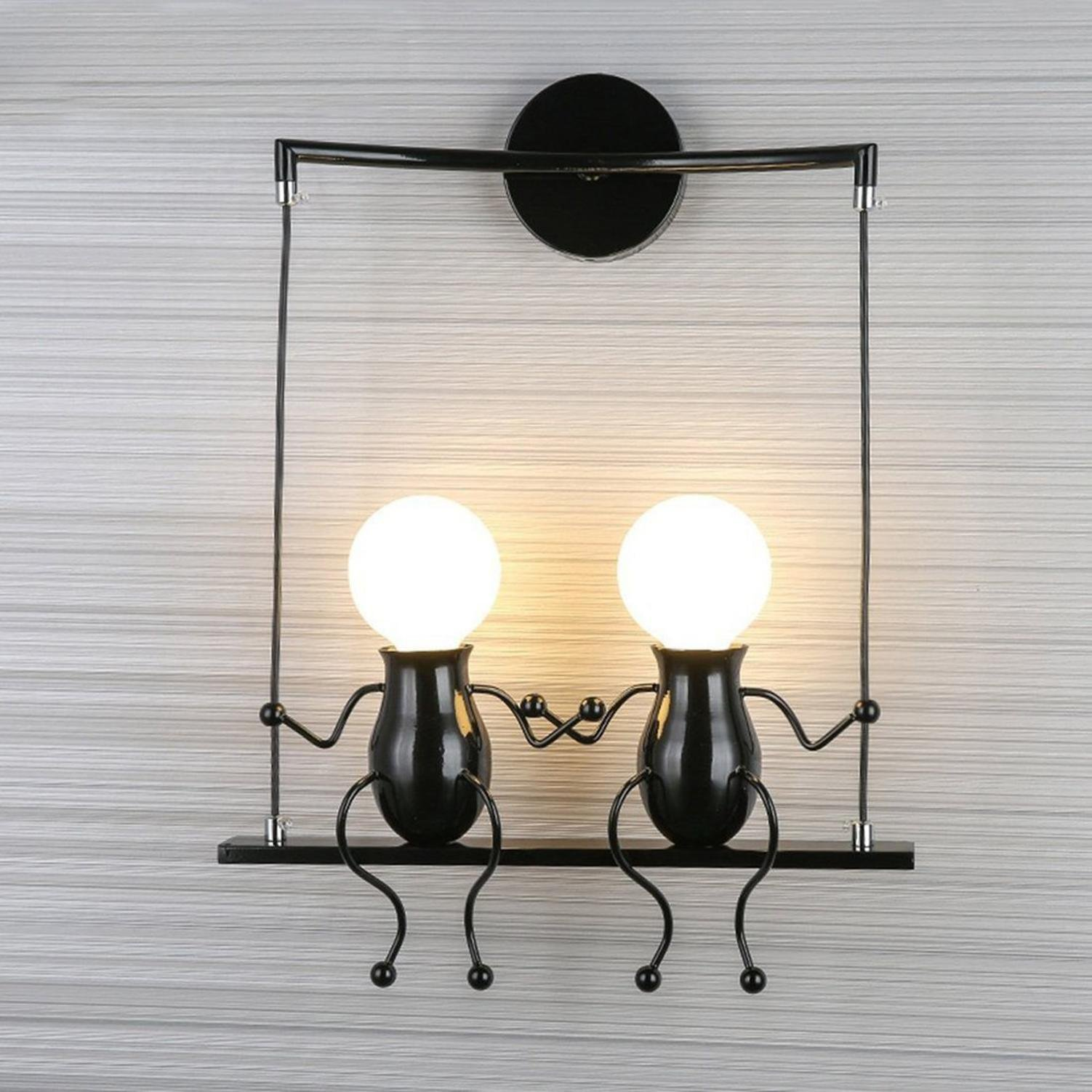 GRFH Nursery wall lamp modern living room bedroom bedside wall lamp creative character corridor wall lamp corridor children room wall Lamp , black double head