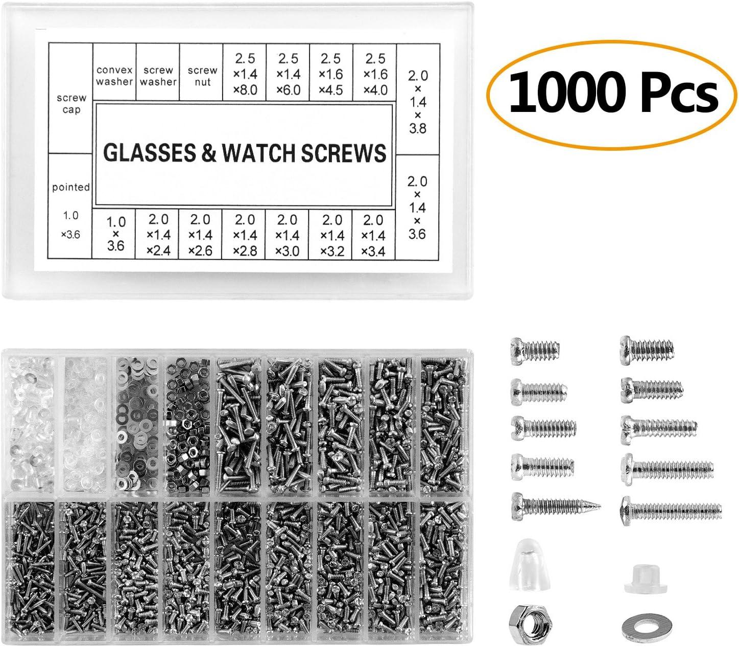 Monocles avec Tournevis 1000 Pcs Vis en Acier Inoxydable avec Tournevis Kit de R/éparation pour Montres Lunettes de Soleil ZOEON Vis de Lunettes