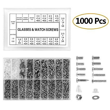 ZOEON Tornillos Gafas, 1000Pcs Tornillo para Gafas,Relojes,Tornillos Tuercas Kit de Reparación con Destornillador